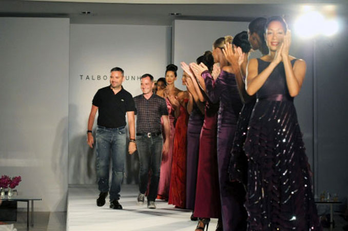 Models with designers Adrian Runhof and Johnny Talbot