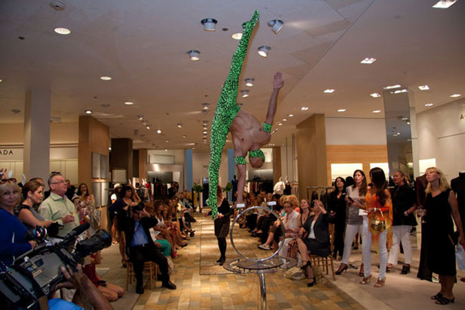 Cirque de Soleil performer during Fashion's Night Out at Neiman Marcus Bal Harbour