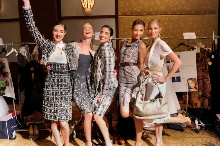 Models backstage at the Oscar de la Renta Pre-Fall 2011 Fashion show