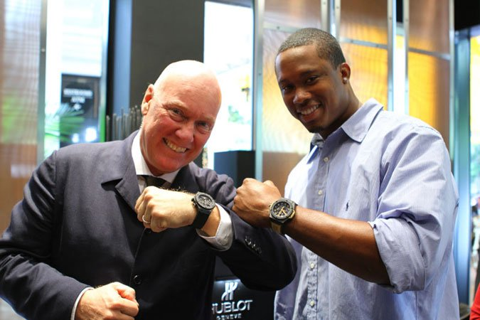 Hublot CEO Jean Claude- Biver and Quentin Moses of the Miami Dolphins