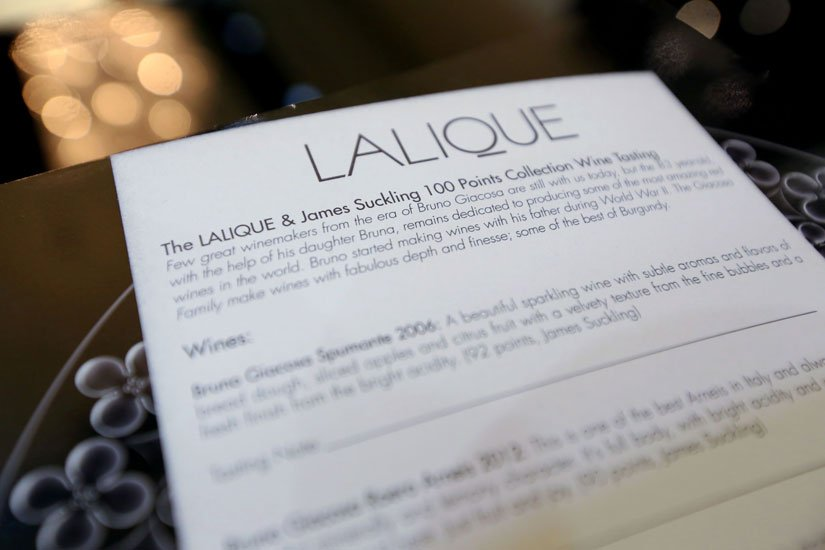 LALIQUE Tasting card for guests to write notes