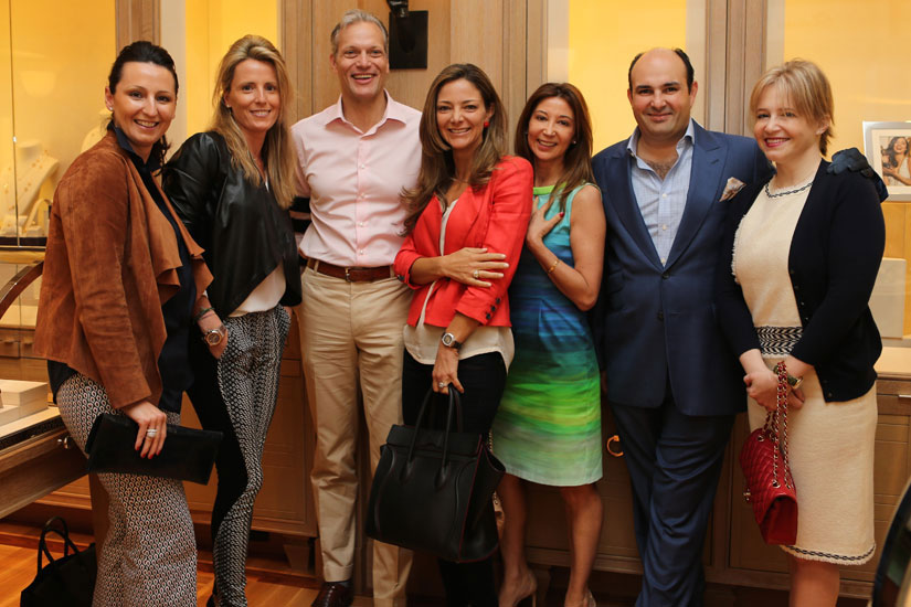 Silvia Olloqui, Marta Olloqui, Marc Hruschka, President and CEO Chopard USA, Liliana Paez, Carolina Apey, Alejandro Cuellar, Boutique Director, and Maria Pia Leon