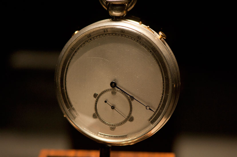 Breguet #3825 owned by Tsar Alexander I in 1822. A military metronome (pedometer) for regulating the march of troops. Silver case, silver engine-turned dial, adjustment from 60 to 125 beats per minute, seconds subdial, and detent escapement. 69mm diameter.