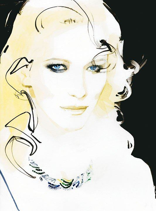 Cate Blanchett, one of the subjects of illustrator David Downton.