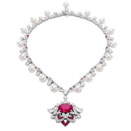 Bulgari high jewelry necklace in platinum with rubies, diamonds and pearls