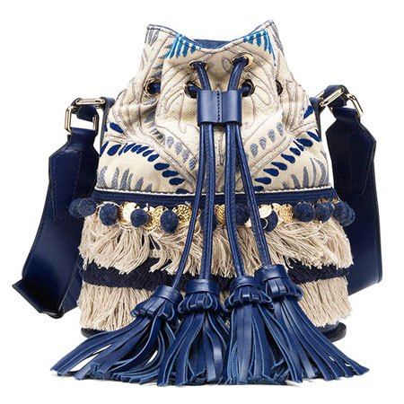 Santoni's Blue Medallion tassel bucket bag