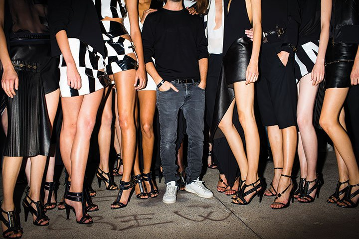 Anthony Vaccarello with models in Paris