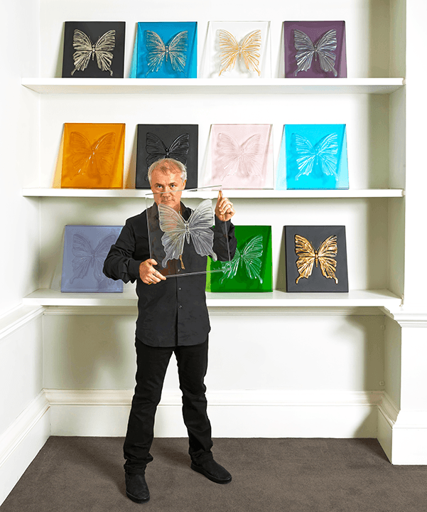 Damien Hirst with ETERNAL BEAUTY Photographed by Prudence Cuming Associates © Damien Hirst and Lalique, 2015.