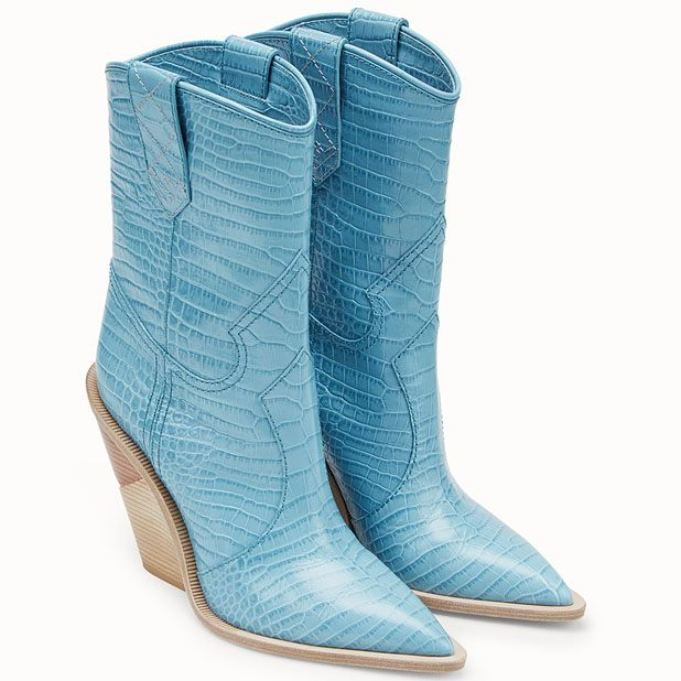 Pale blue leather ankle boots.