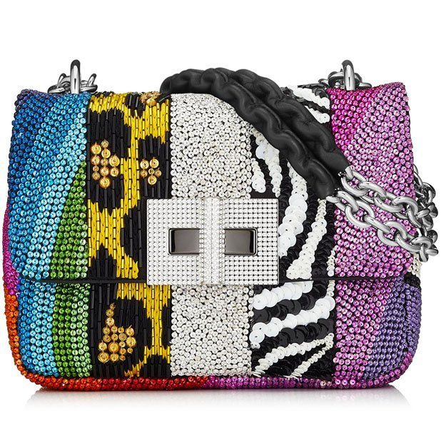 Embroidered patchwork small Natalia bag available at Neiman Marcus Bal Harbour.