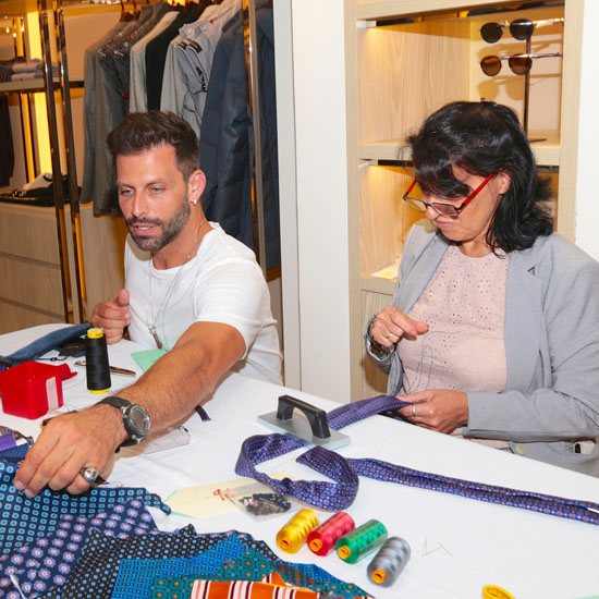 Henri Castelli meets tie maker from Napoli at Kiton Bal Harbour