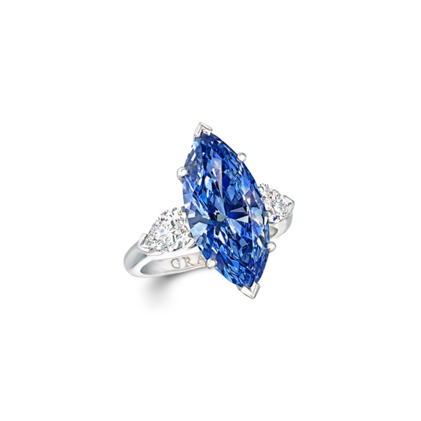 Marquise Cut Blue Diamond Ring.