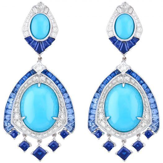 """Horizon"" earrings from the ""Quatre Contes de Grimm"" collection featuring diamonds, sapphires and turquoise set in 18K white and yellow gold."