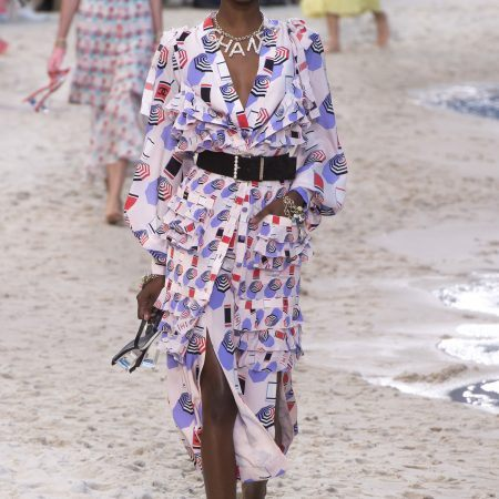 Chanel Spring 2019 runway look featuring a printed dress
