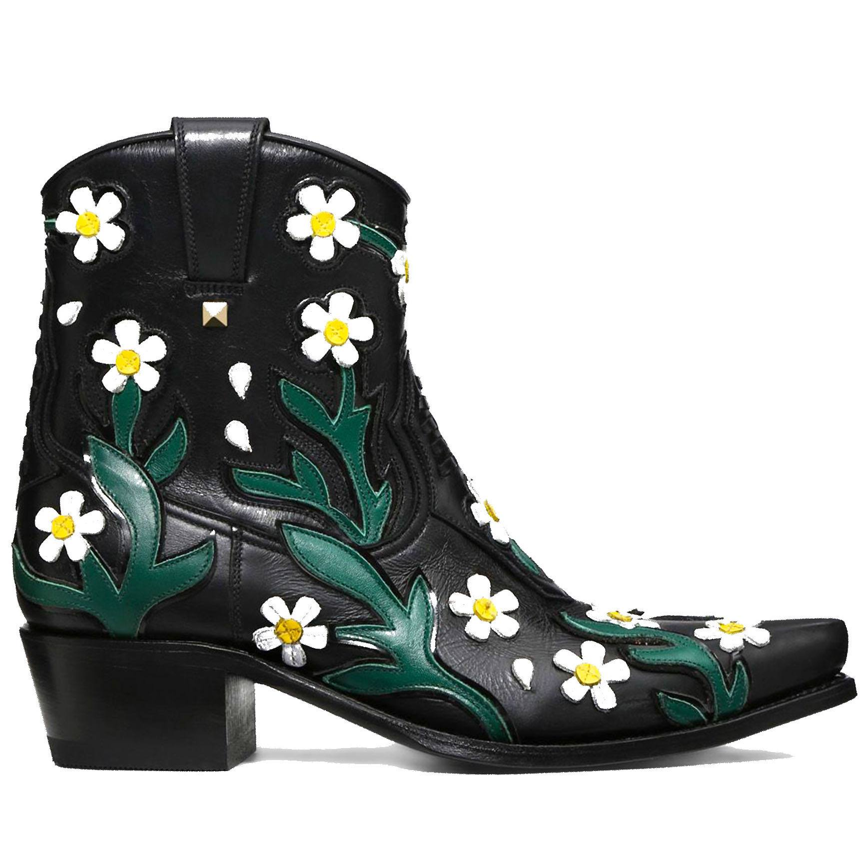 Valentino Cowboy Ankle Boot with Embroidered Flowers