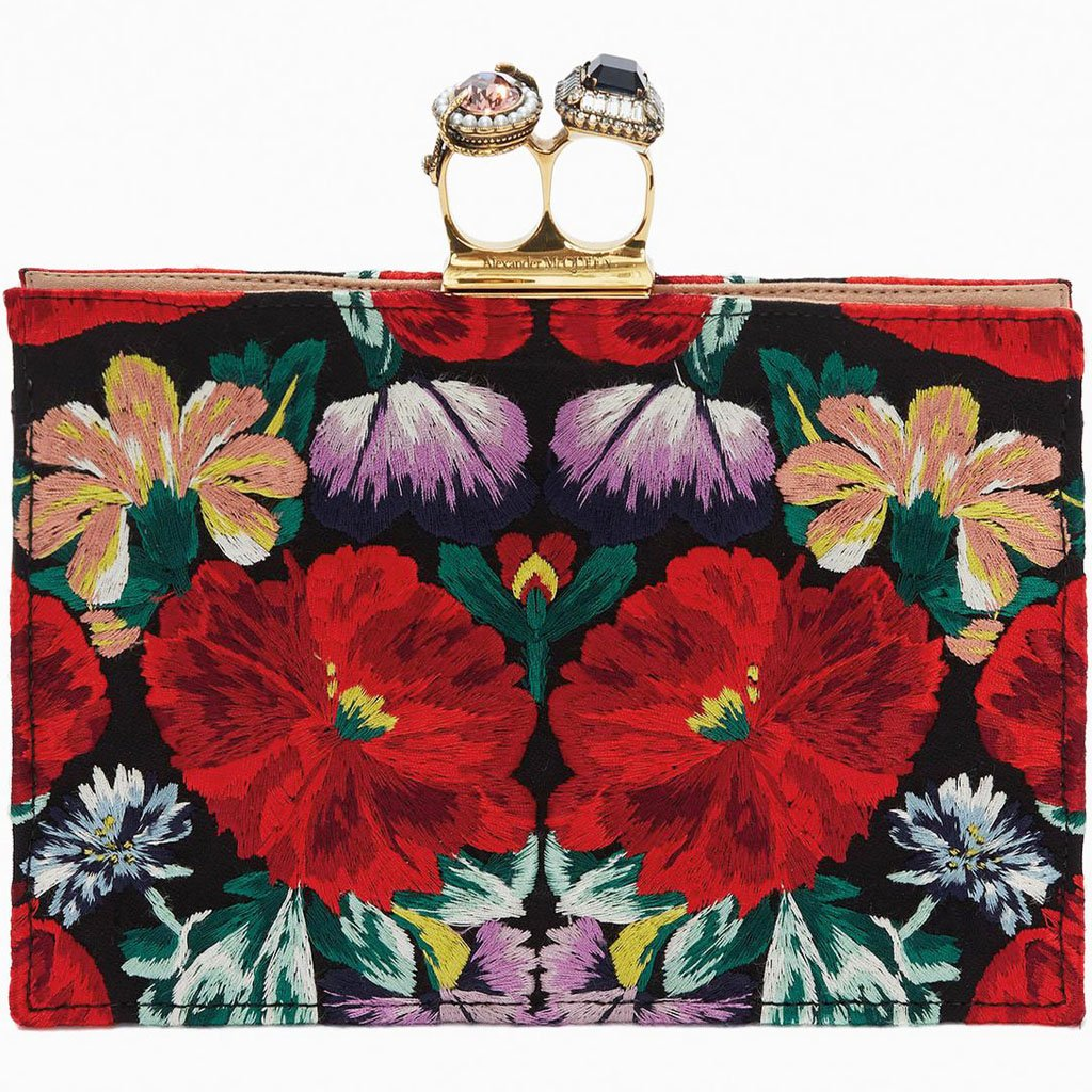 Alexander McQueen Multicolor Double-Ring Clutch with a tapestry embroidery flower motif