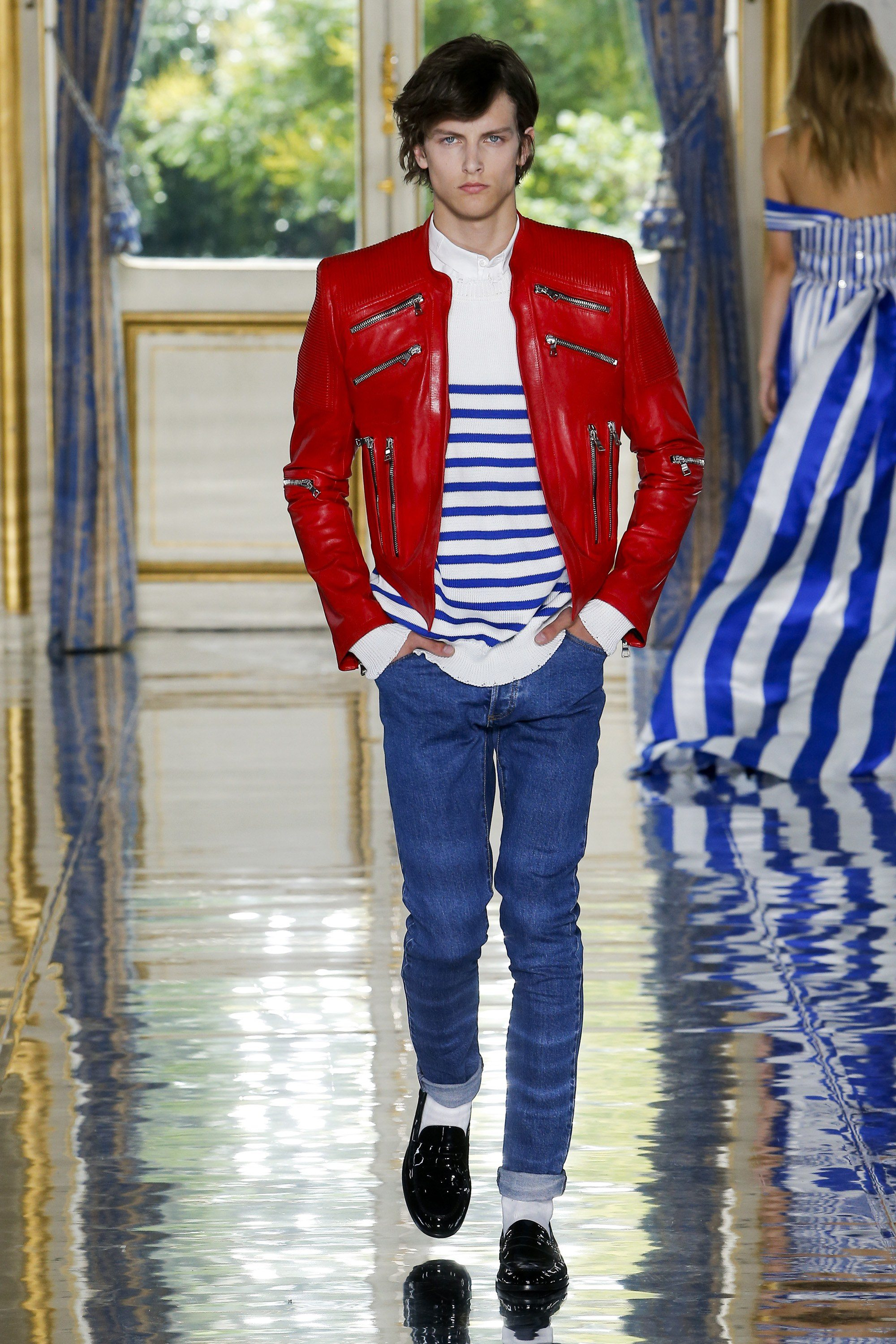 A striped look from Balmain's Spring 2019 men's collection