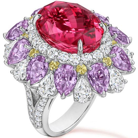 Harry Winston Red Spinel Ring with multi-colored Sapphires and Diamonds
