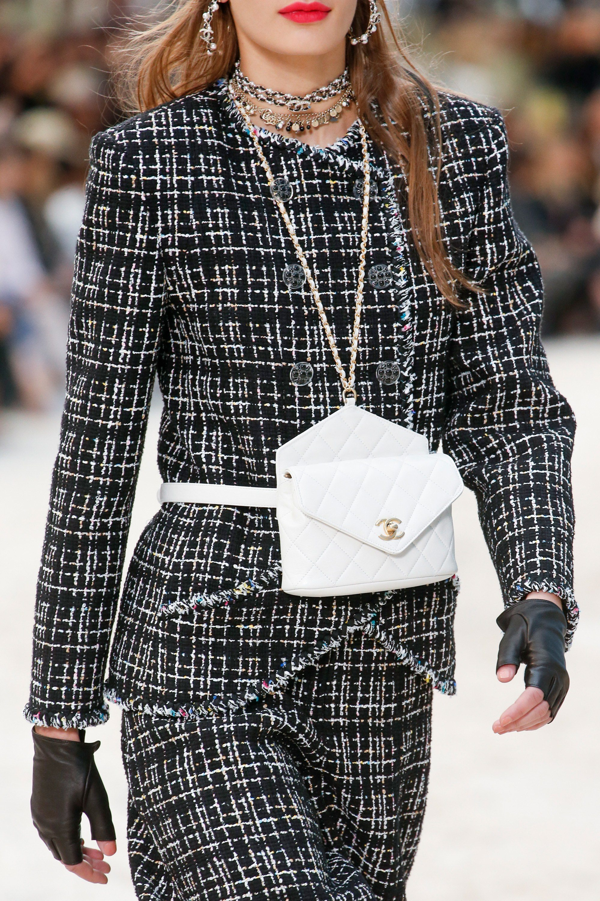 White leather Chanel belt bag from the Spring 2019 Runway collection