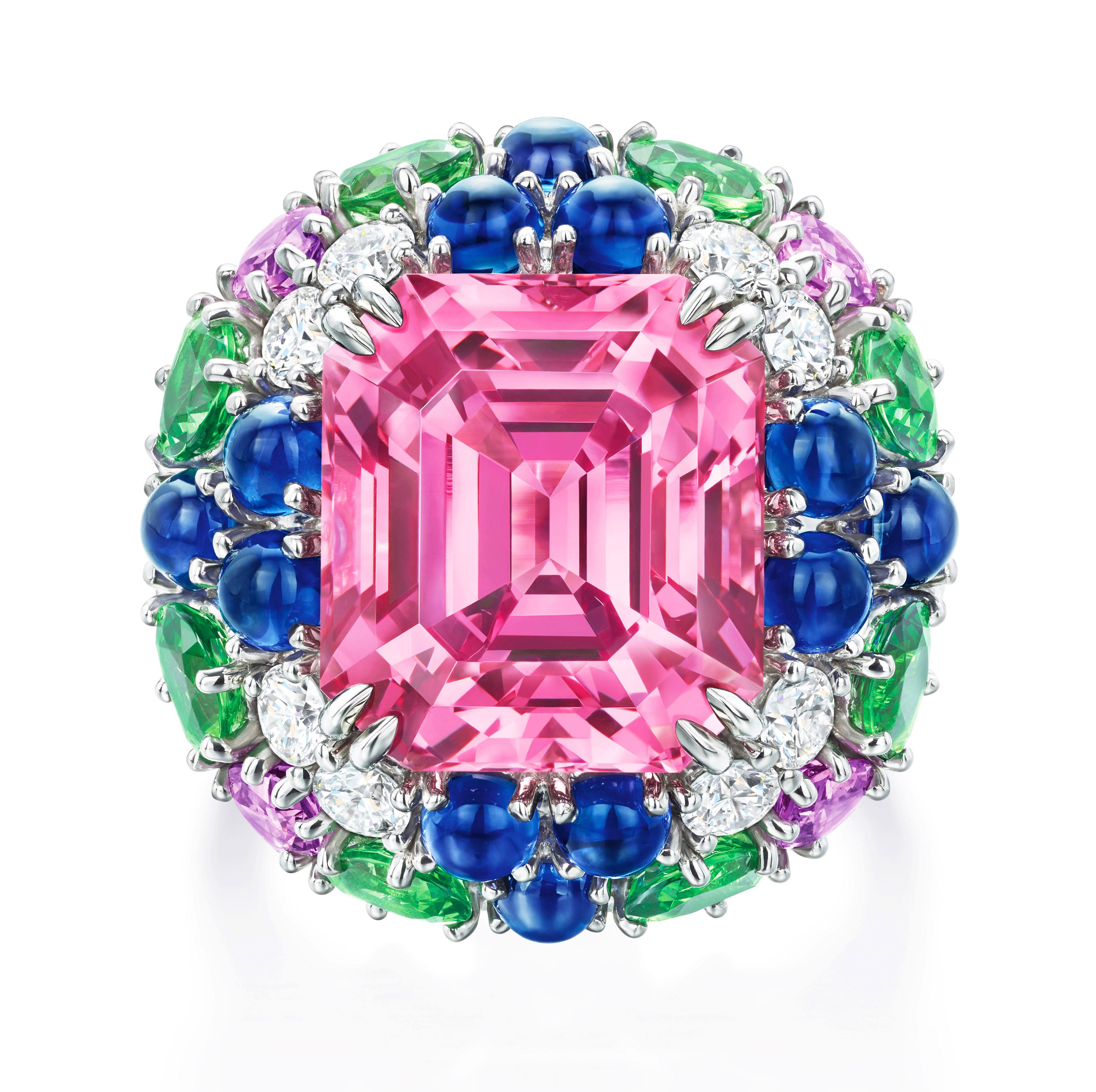 Limited Edition Harry Winston pink Pink Spinel Ring with Tsavorite Garnets, multi-colored Sapphires and Diamonds from the Candy Collection