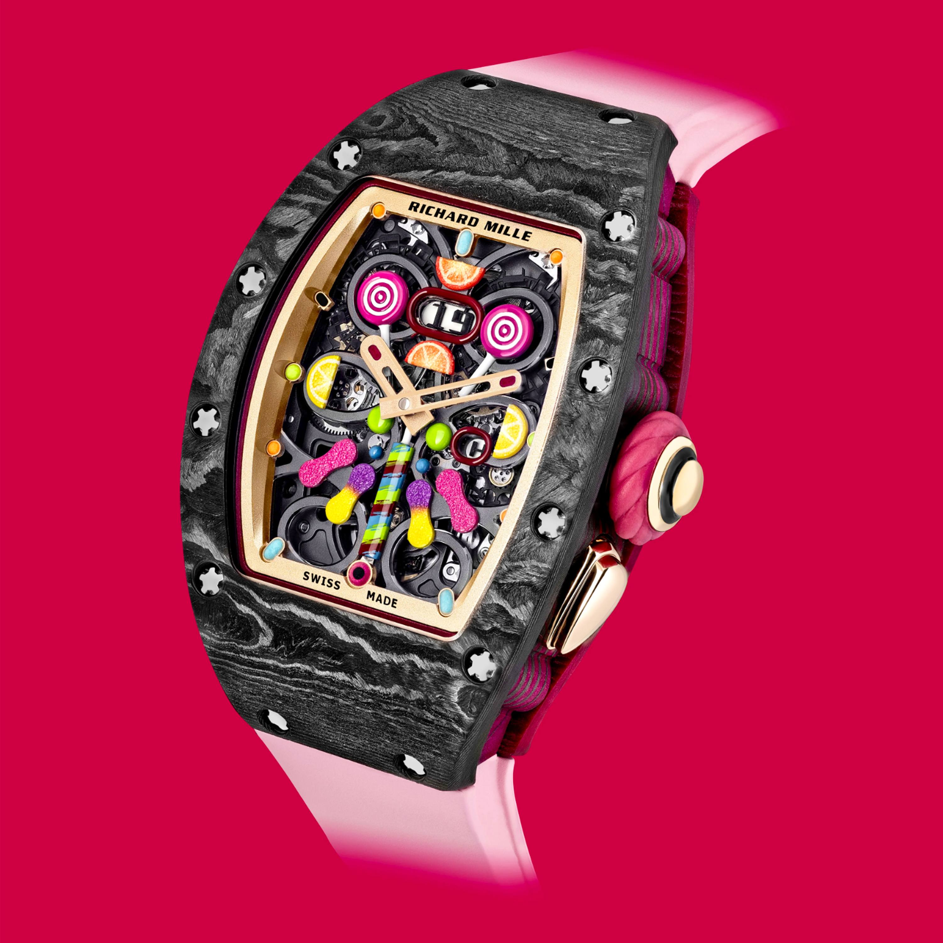Richard Mille Bonbon Collection featuring the multi-colored RM 37-01 Automatic Cerise timepiece