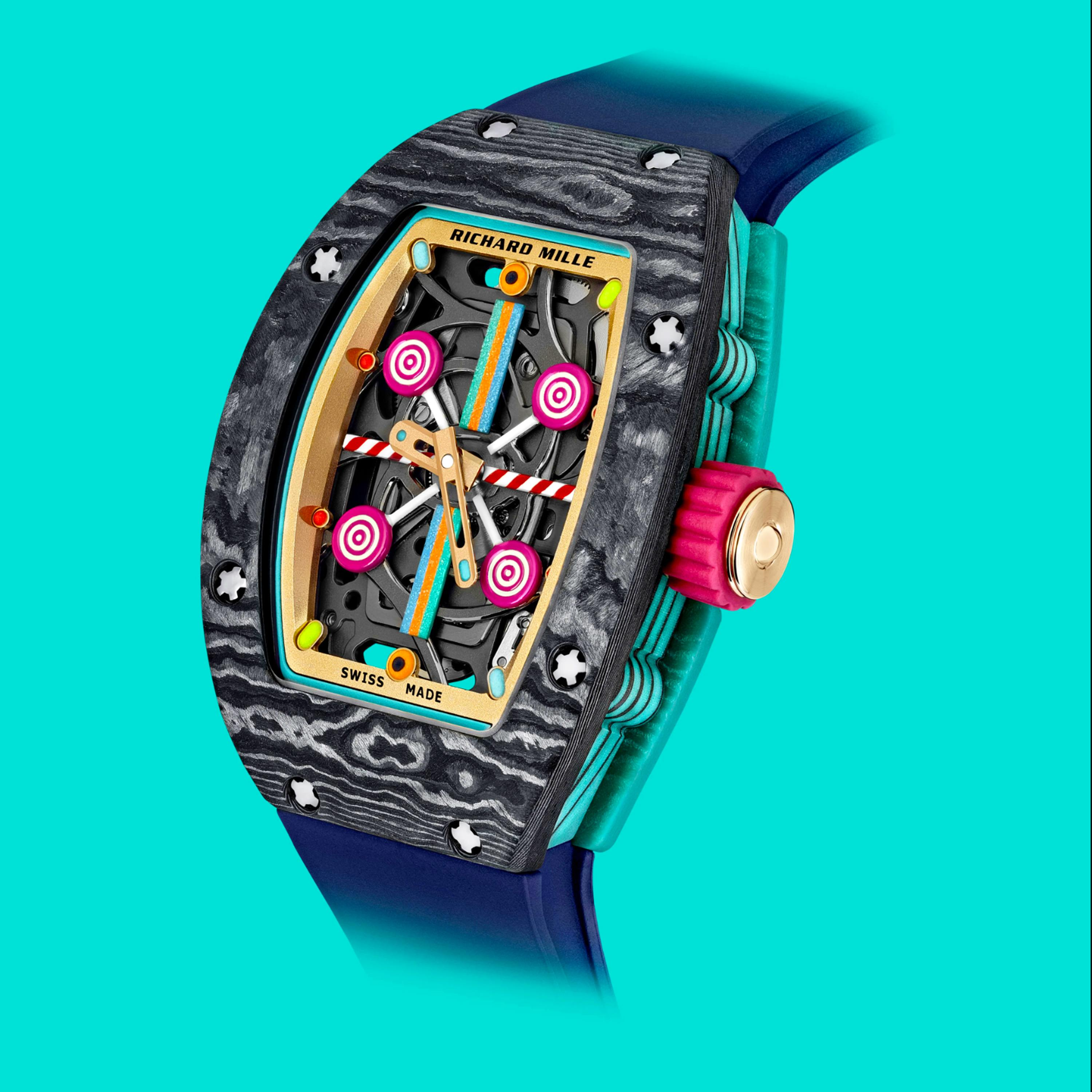 Richard Mille Bonbon Collection featuring the multi-colored RM 07-01 Automatic Myrtille timepiece