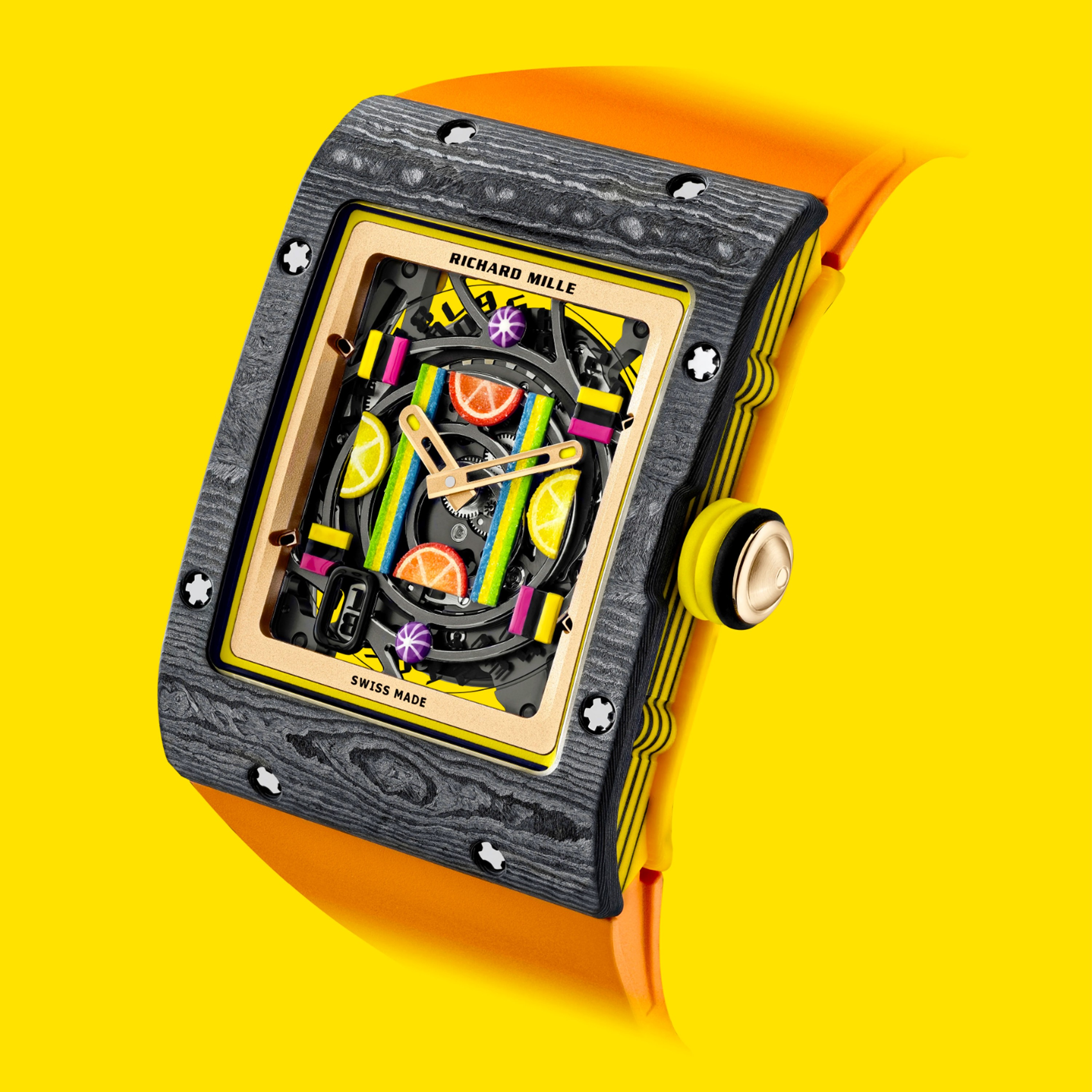 Richard Mille Bonbon Collection featuring the multi-colored RM 16-01 Automatic Citron timepiece