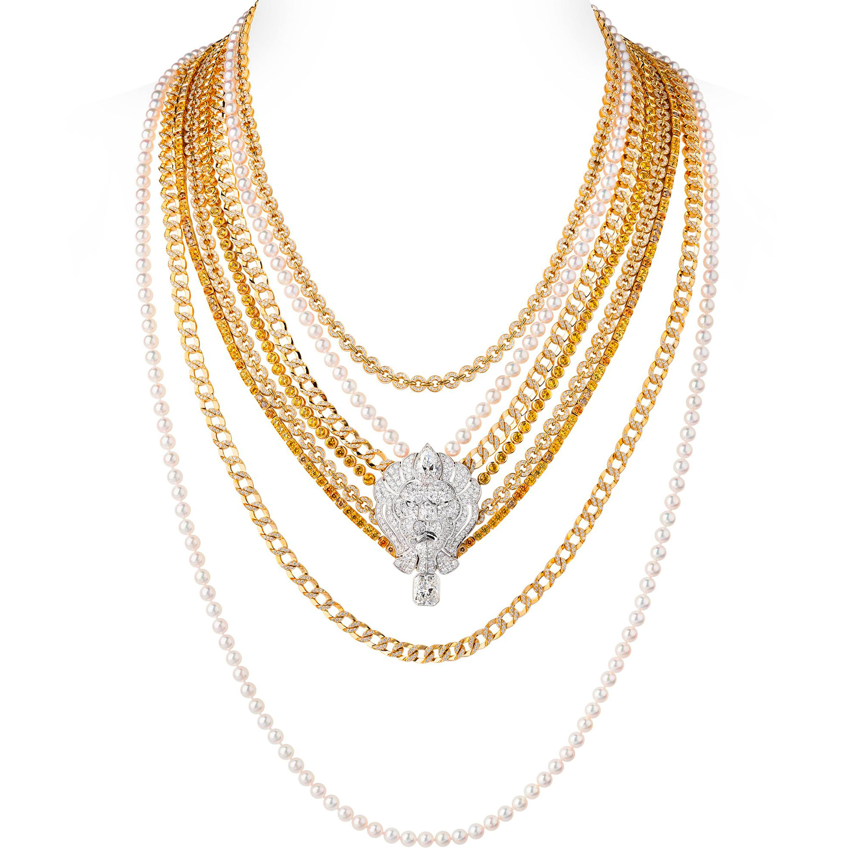 Chanel High Jewelry necklace in 18k white and yellow gold from the L'Esprit du Lion collection