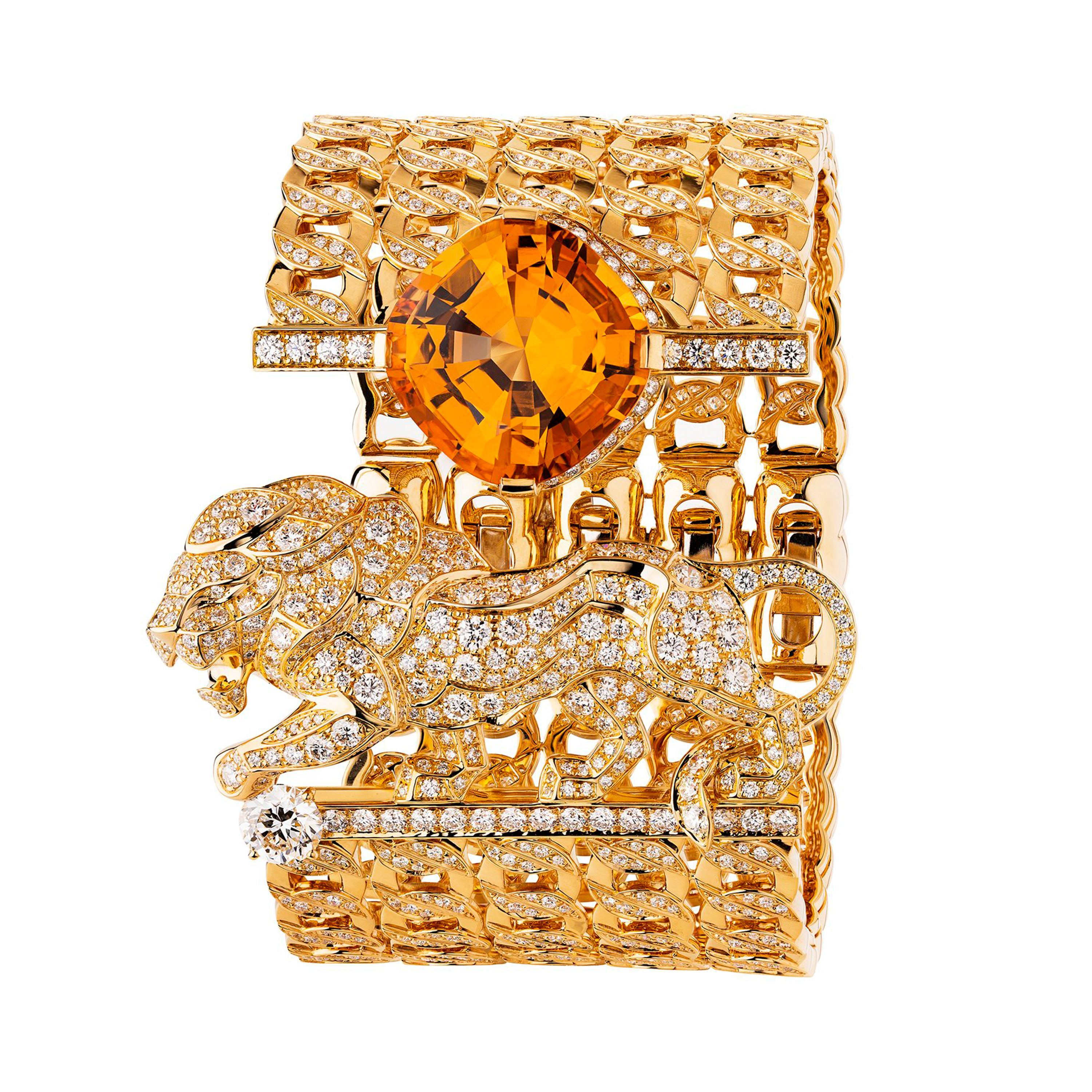 Chanel High Jewelry bracelet from the L'Esprit du Lion collection featuring a diamond-set lion and a cuff made up of four rows of rigid gold links