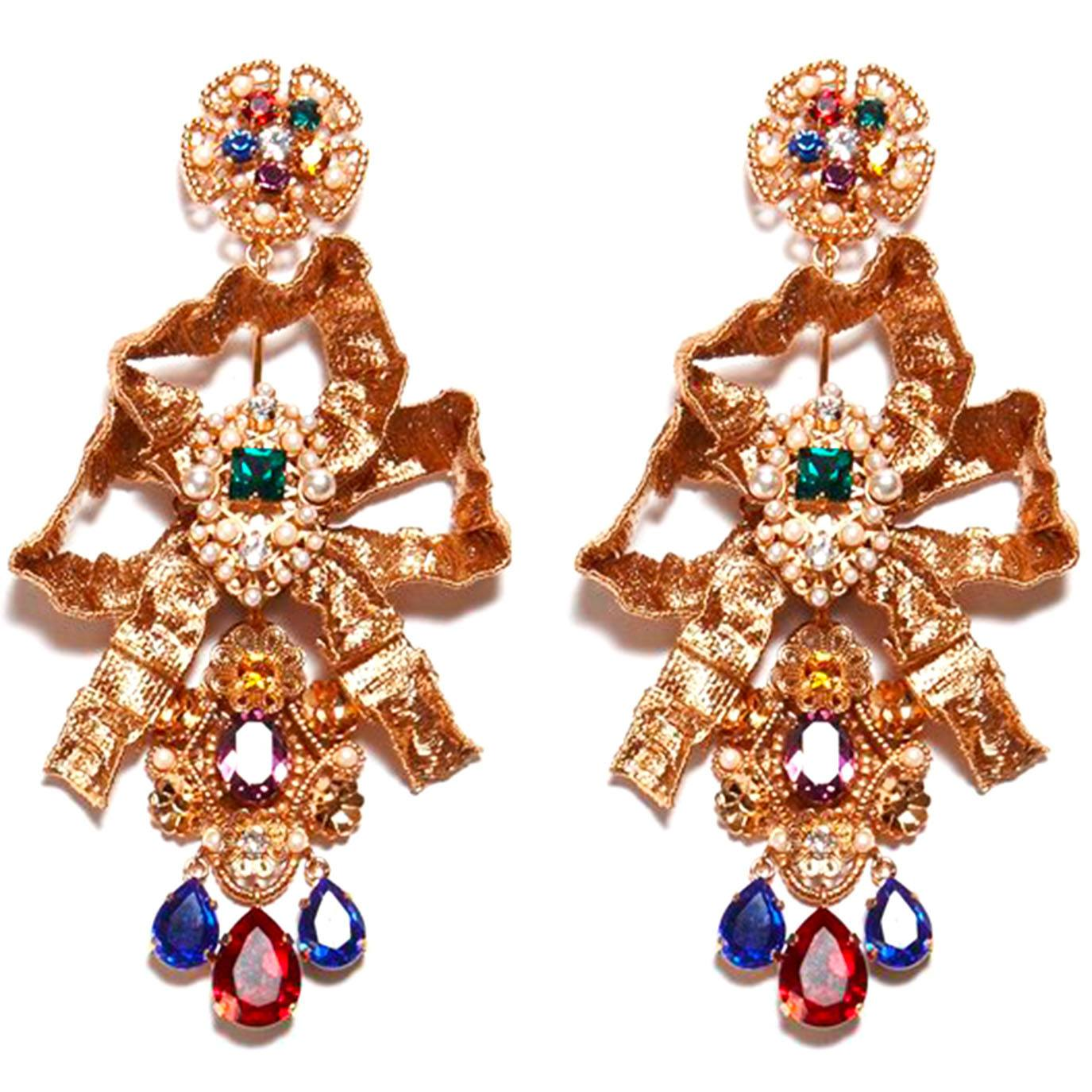 Dolce & Gabbana golden ribbon-shaped earrings with ruby and sapphires from the Spring 2019 Runway Collection