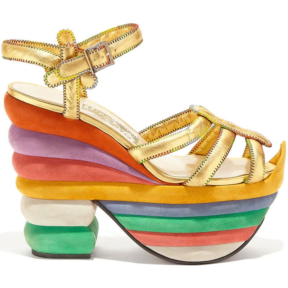 Created in 1938 for Judy Garland, this model is one of the most famous ever made by Salvatore Ferragamo in his career as shoemaker to the stars and shows his creative ability to combine forms and colours.