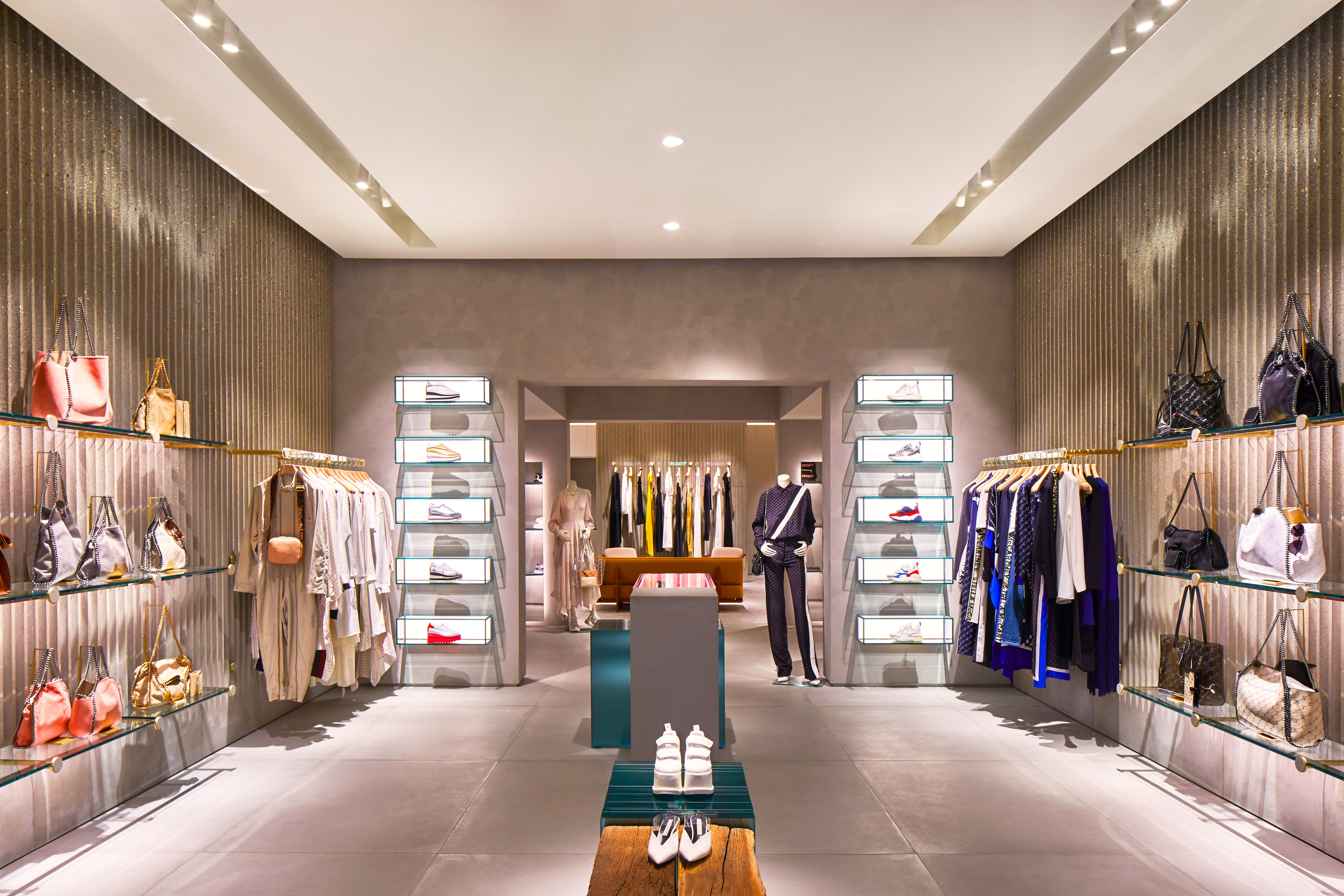 Inside the newly redesigned Stella McCartney Bal Harbour boutique featuring women's, men's and children's ready-to-wear and accessories
