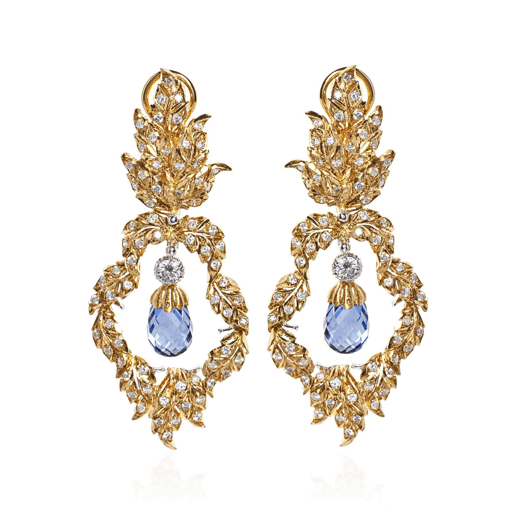 Buccellati gold diamond and sapphire earrings with jewel in center