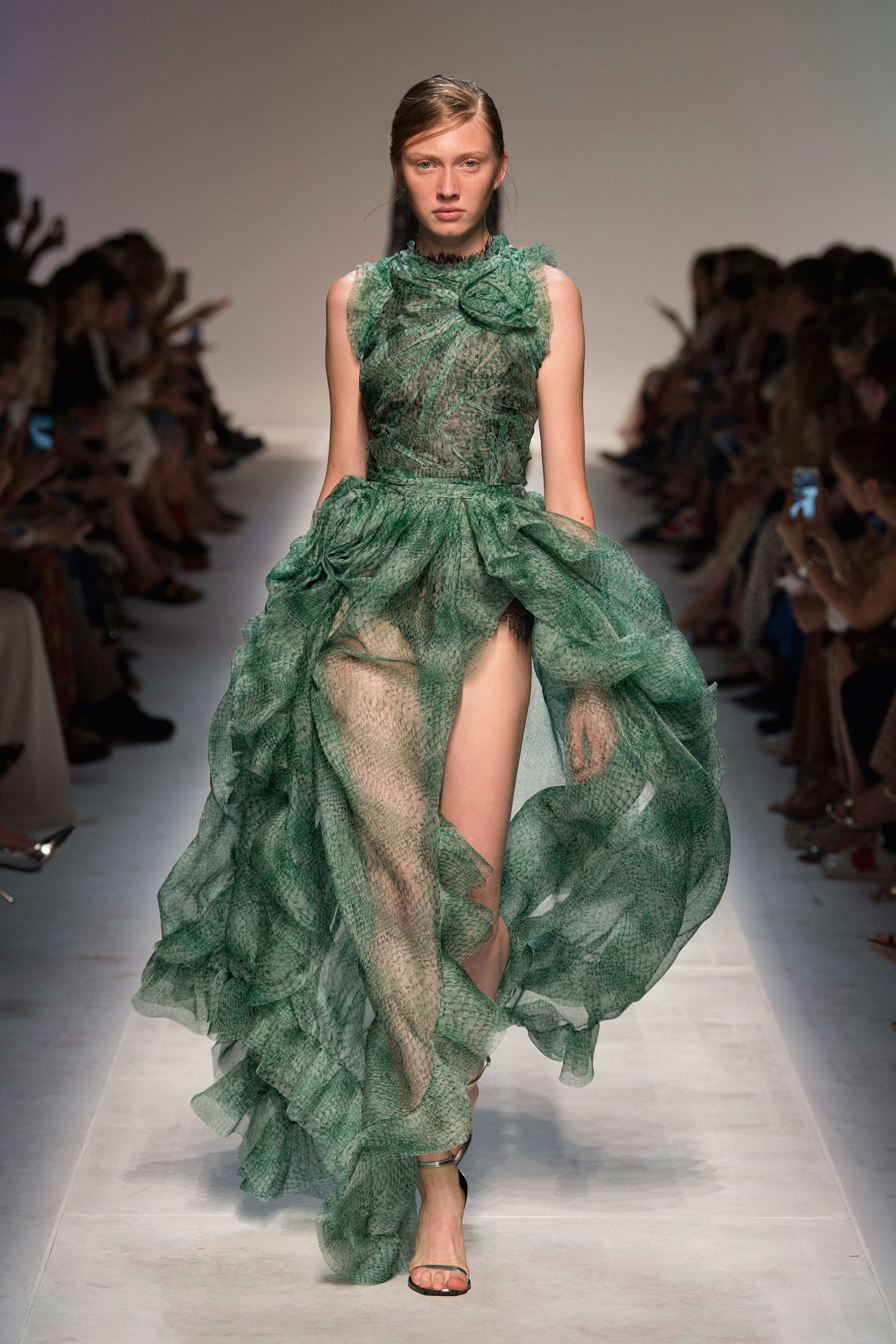 Green transparent gown from Ermanno Scervino's Spring 2019 Runway collection