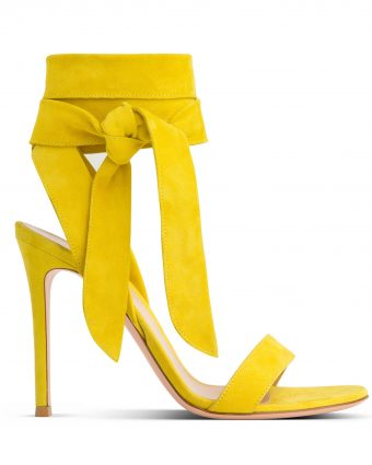 Yellow suede Heel with Ankle Strap
