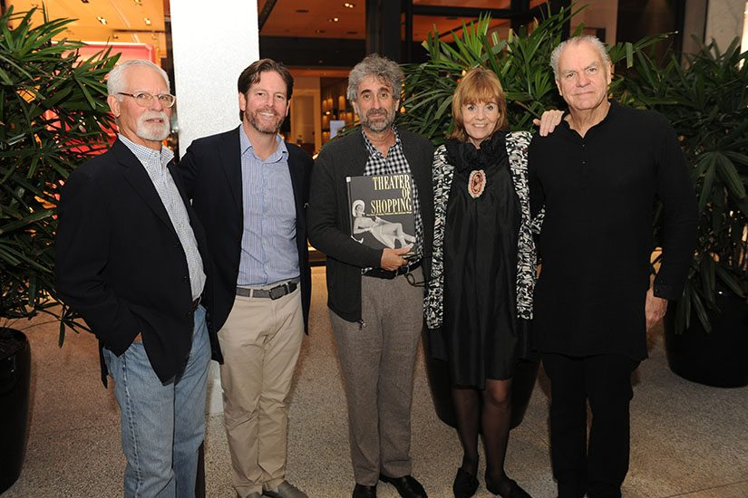 Randy Whitman, Matthew Whitman Lazenby, Mitchell Kaplan, Barbara de Vries, & Alastair Gordon showcasing the Theater of Shopping book at Bal Harbour Shops