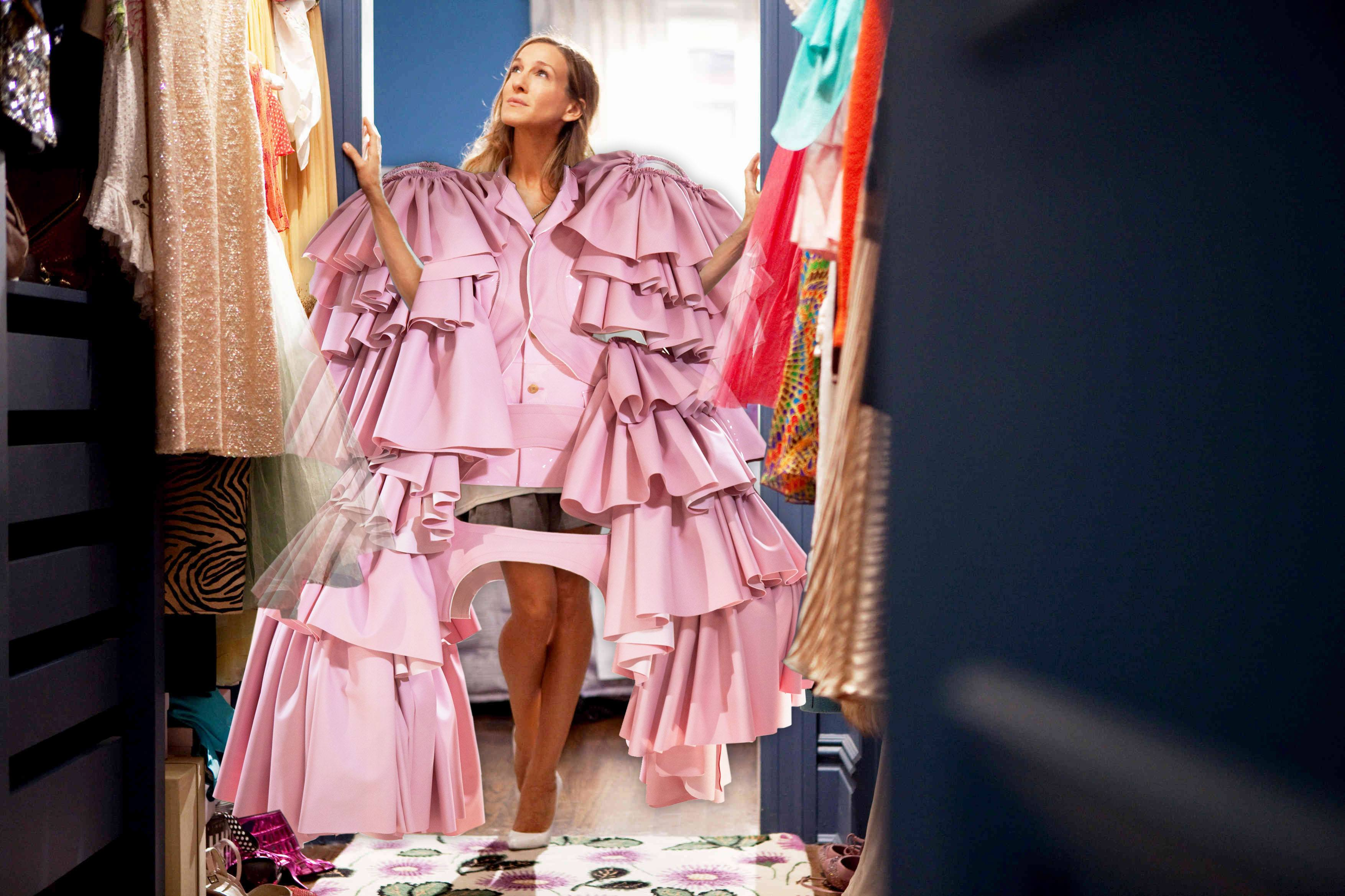 Seidler's Instagram collage of Sex and The City's Sarah Jessica Parker in Comme des Garçons for the Met Gala in a pink fluffy gown standing inside her closet