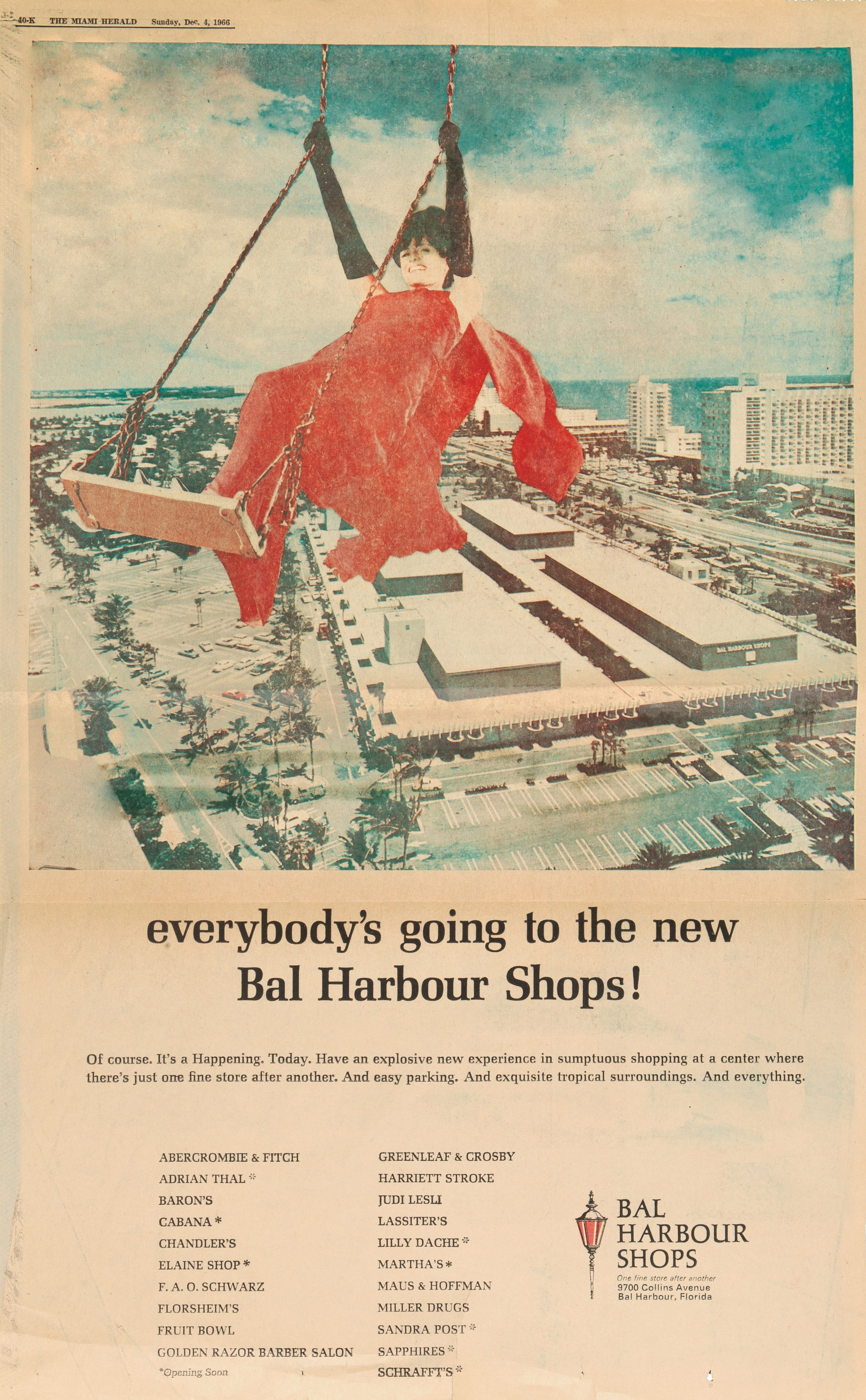 Full-page ad for Bal Harbour Shops in The Miami Herald from December 4, 1966 depicting an image of the woman in a red dress swinging above the Shops