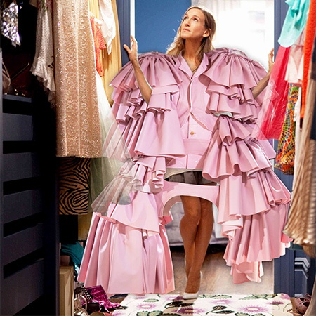 Seidler's Instagram collage of Sex and The City's Sarah Jessica Parker in Comme des Garcons for the Met Gala in a pink fluffy gown standing inside her closet