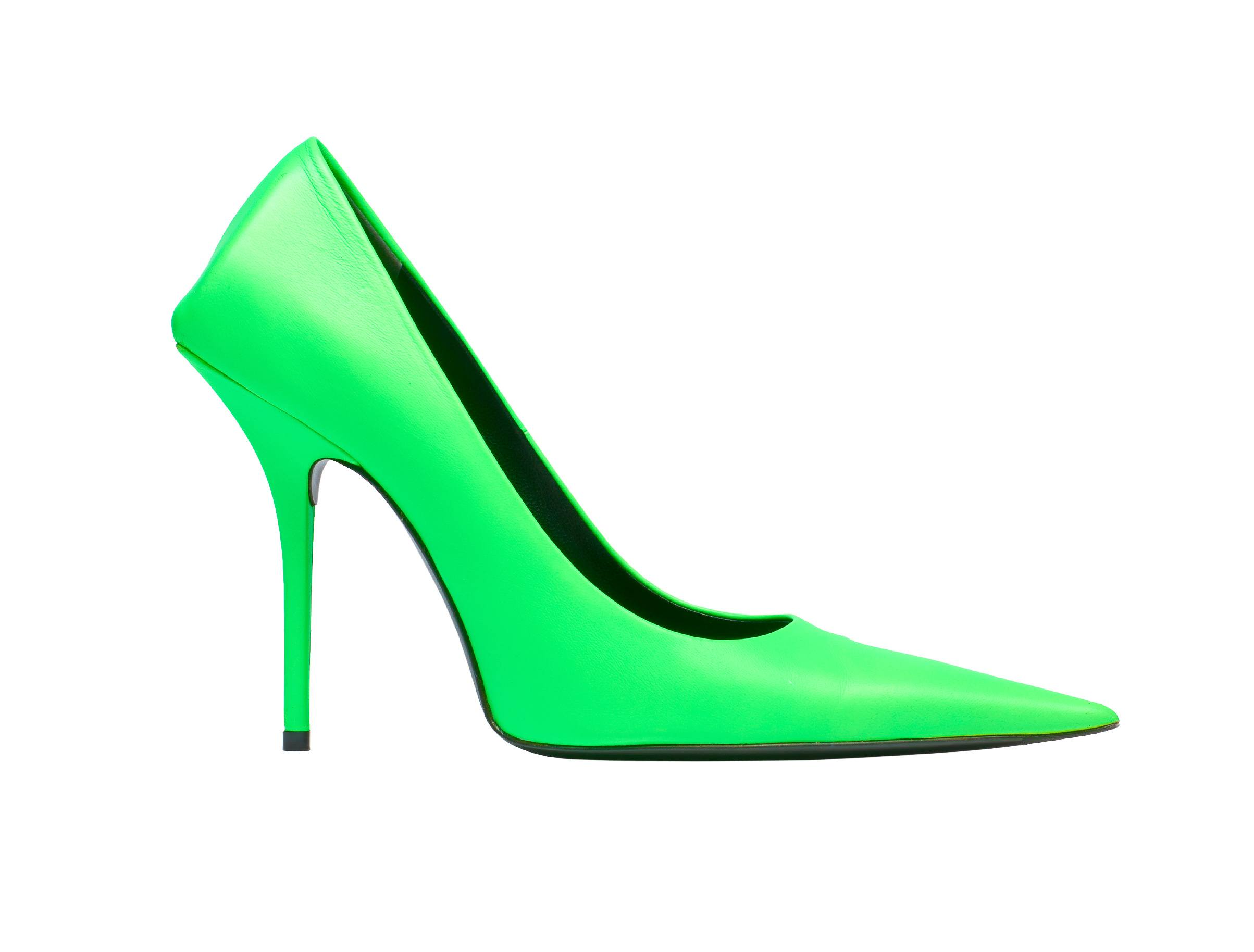 Neon green Balenciaga leather pump