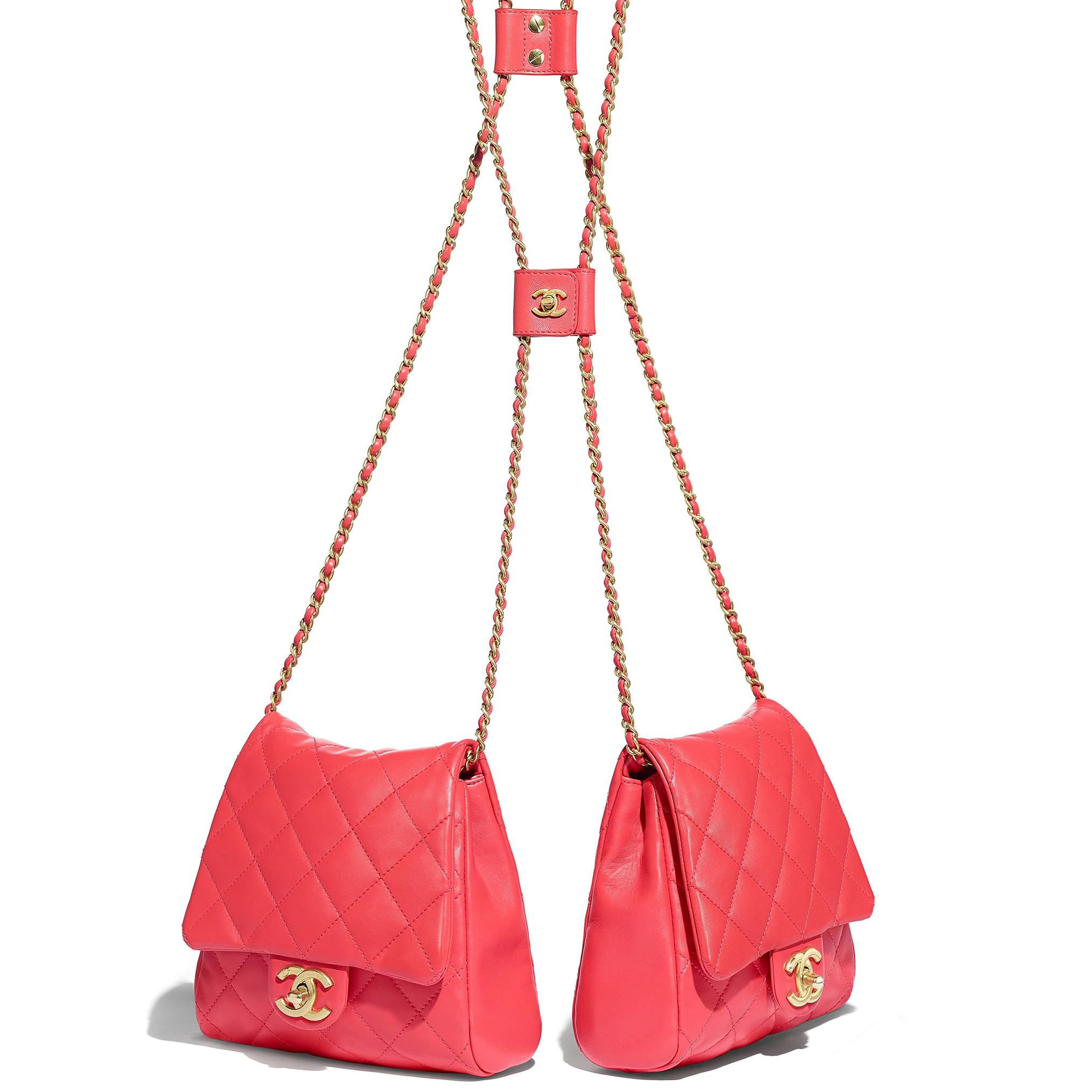 Pink Chanel double quilted Side bags that go over the shoulder