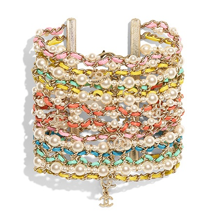 Chanel Multi-colored gold chain and leather bracelet with glass beads