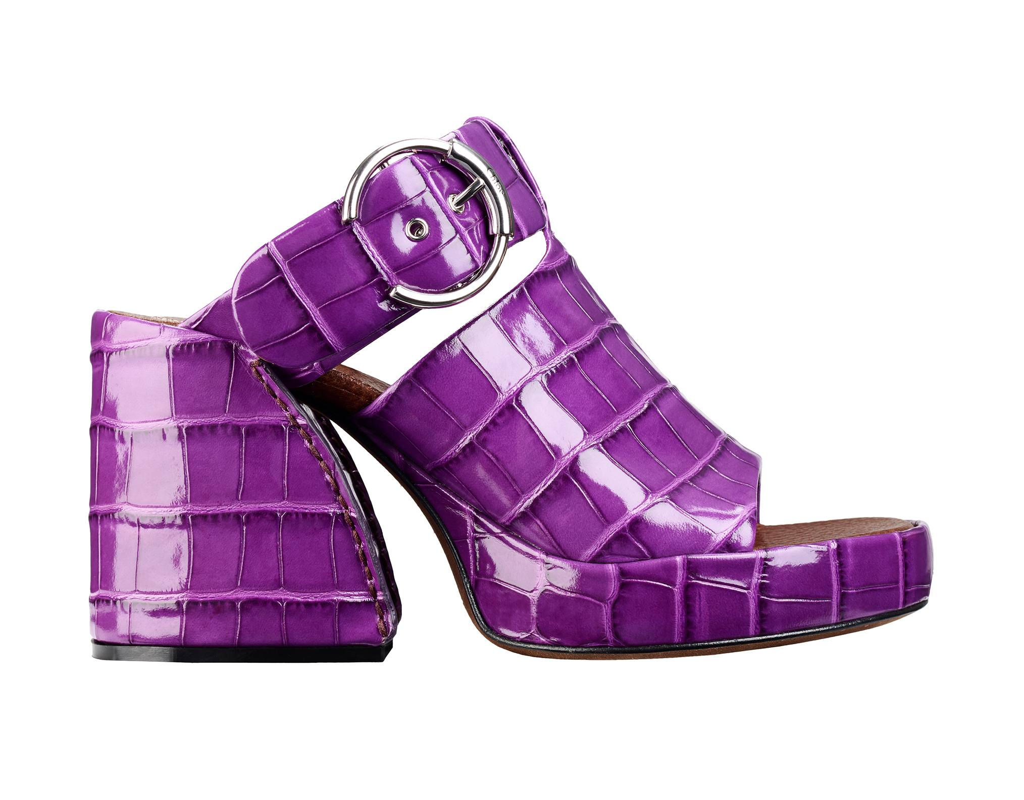Purple Chloé croc-embossed chunky Wave mules