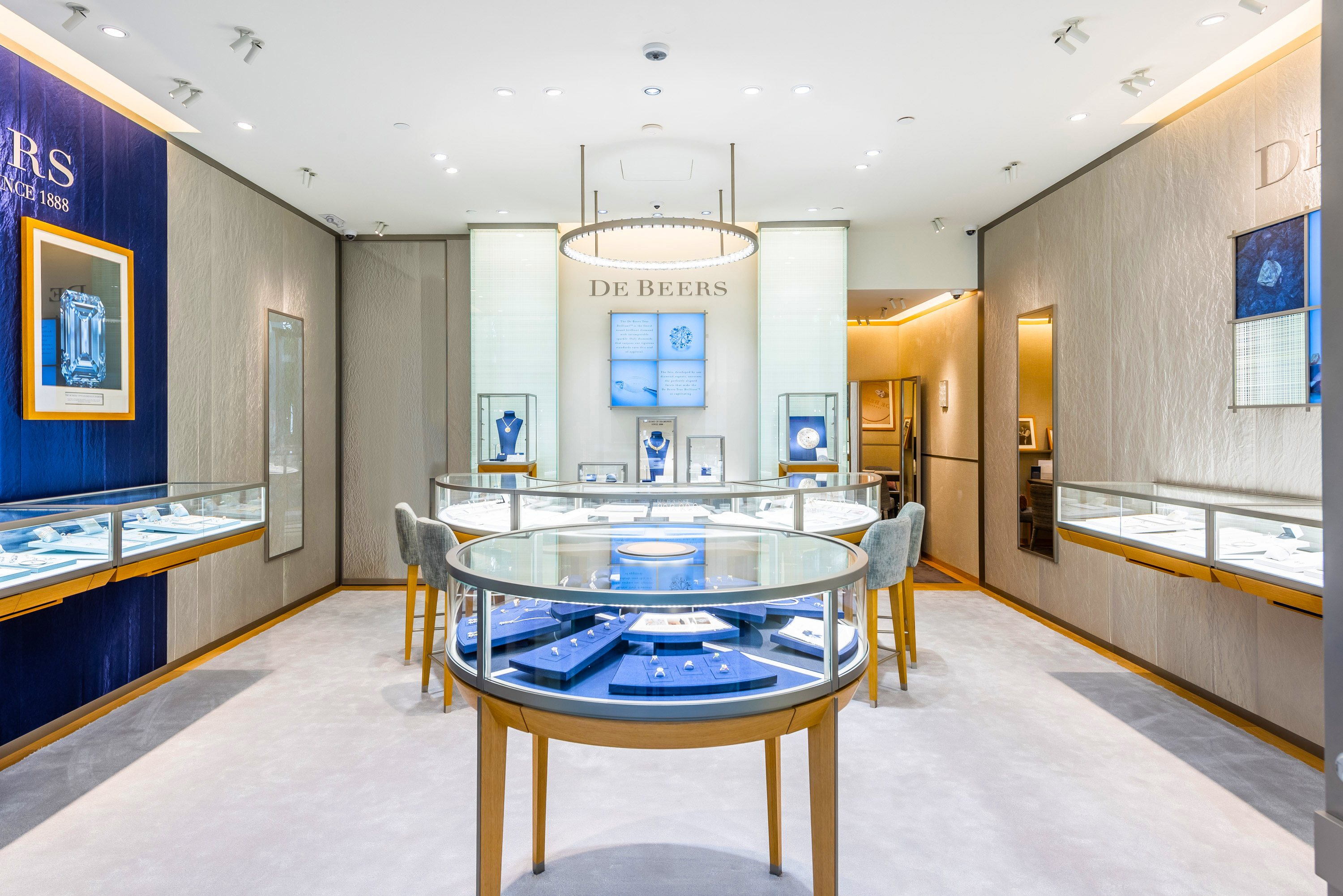 Inside the newly opened De Beers Jewellers Bal Harbour on Level 2 of the Shops