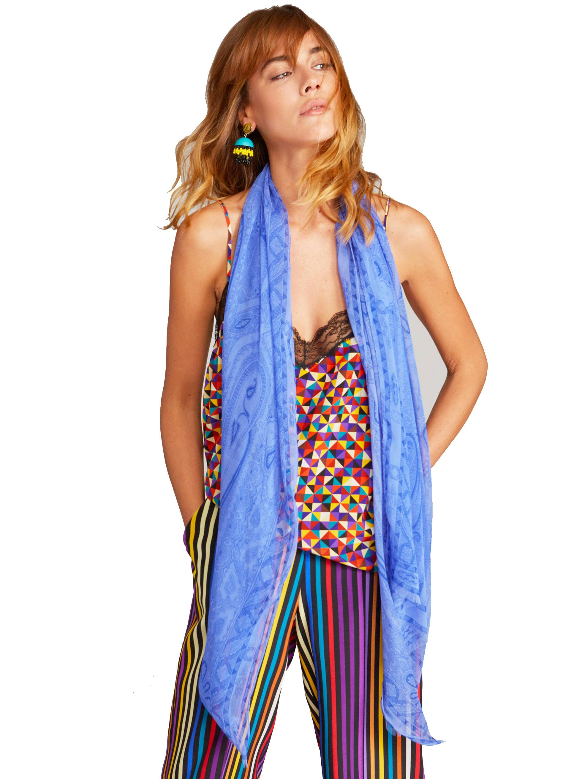 Etro Pasiley Print Tone-on-Tone blue scarf