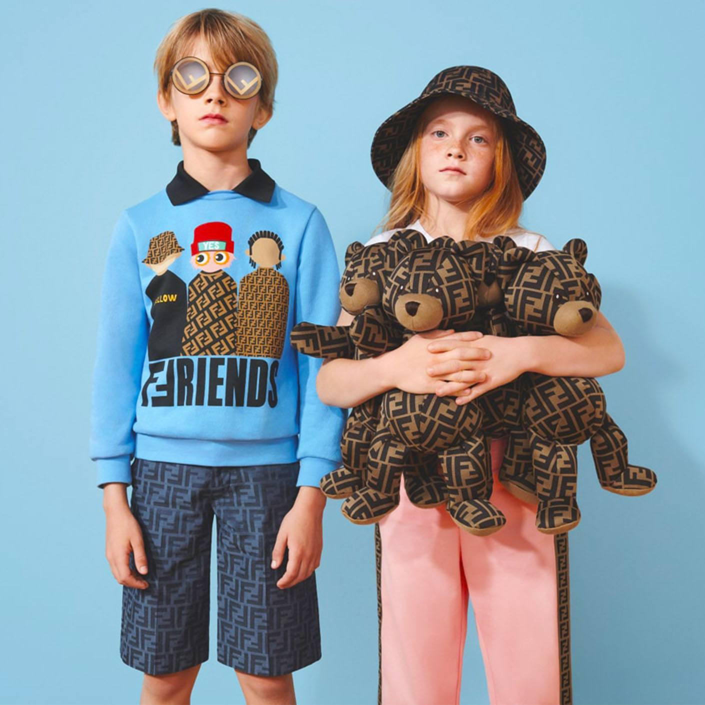 Looks from Fendi's Spring 2019 children's collection available at Couture Kids Bal Harbour