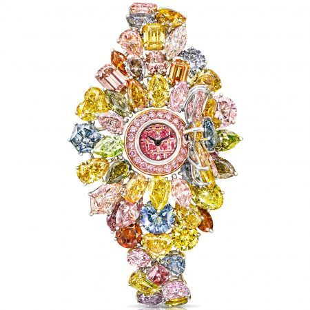 Multicolored diamonds Graff high jewelry timepiece for women