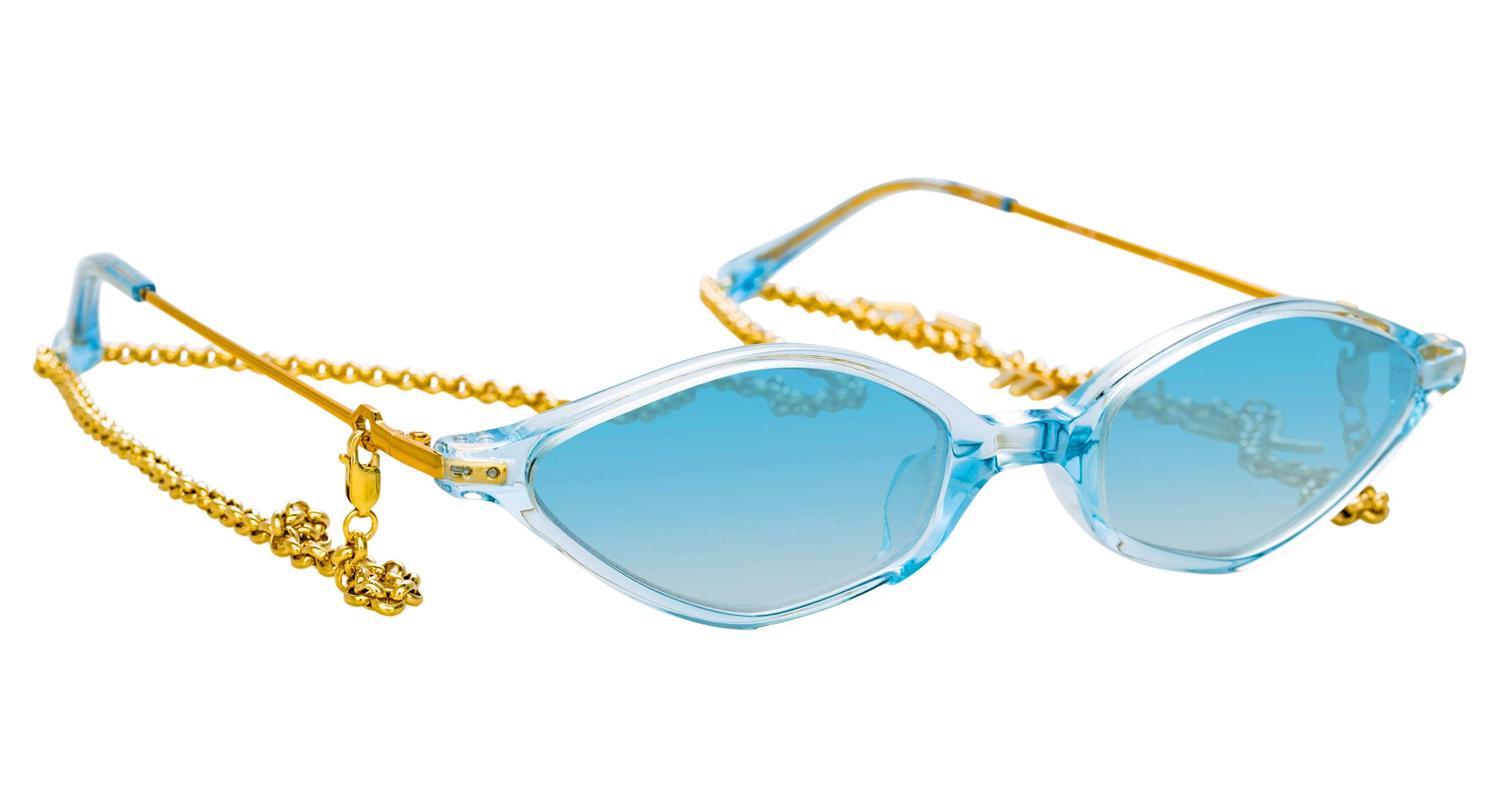 Blue Linda Farrow Angular Cat-Eye sunglasses with a detachable 18k gold-plated brass chain in collaboration with Alessandra Rich