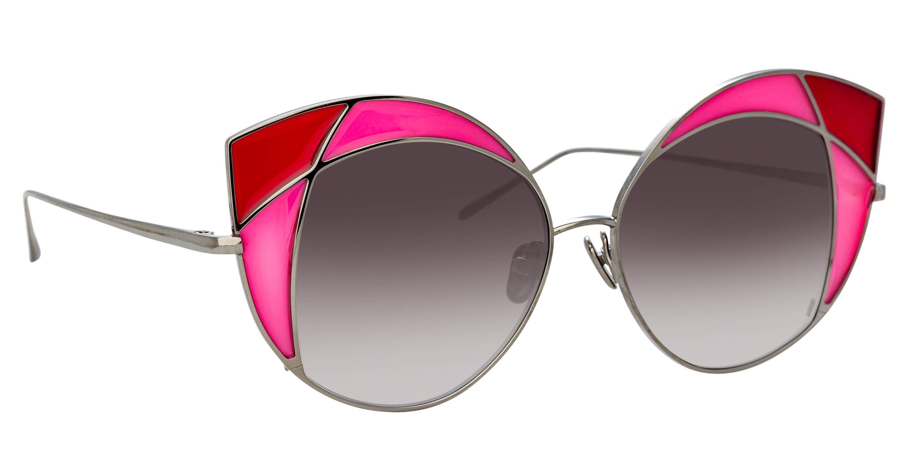 Cat eyes sunglasses with two-tone 'stained glass' corners by Linda Farrow