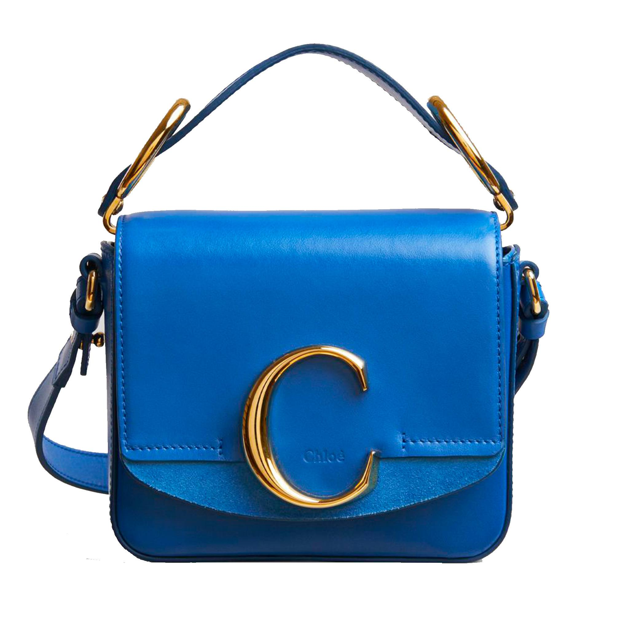 Chloé mini C Bag in blue suede and calfskin